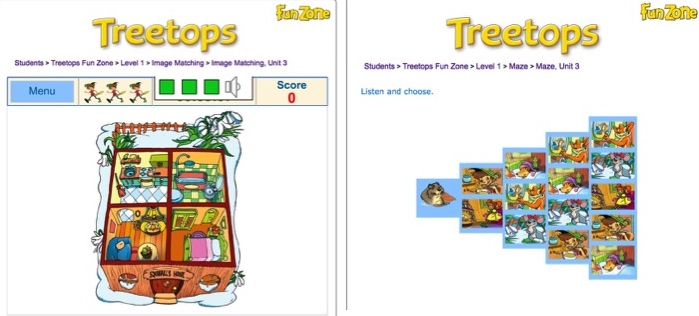Treetops Funzone Unit 3 activities