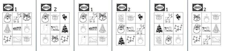 Christmas Bingo worksheets - different versions