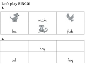 lets play animal Bingo