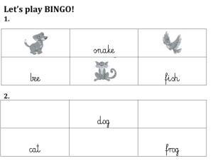 lets play animal Bingo