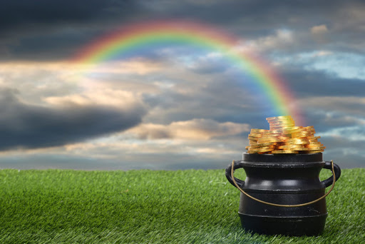 closeup pot of gold with rainbow